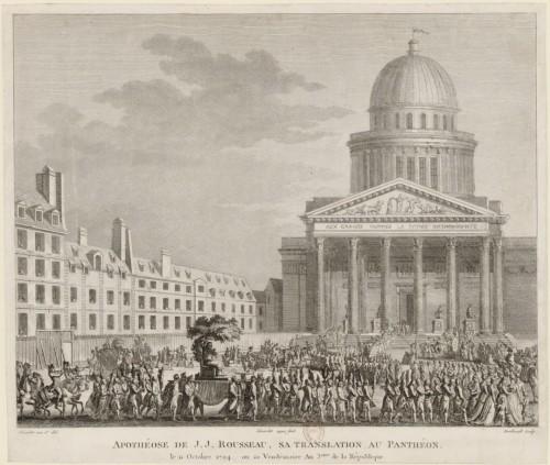 Apothéose de J.-J. Rousseau ; sa translation au Panthéon. Dessiné et eau-forte par Girardet, repris au burin par Berthault