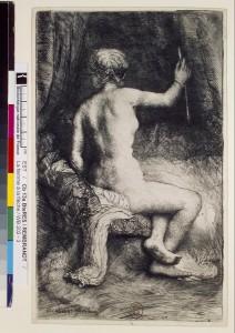 Rembrandt. Femme à la flèche. Eau-forte, burin et pointe sèche. Ca-13a (22)-Boîte écu