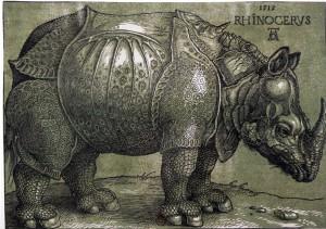 Albrecht Dürer (1471-1528), Le Rhinocéros, 1515, gravure sur bois (planche de couleurs ajoutée après 1620), 21,2 x 30 cm. Bartsch 136 / Schoch, Mende, Scherbaum, II, n°241. BnF, Estampes, Réserve Ca-4 (B)-Fol.