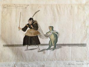 """Costume pour la première partie du ballet """"Les Fées des forêts de Saint-Germain"""", intitulée """"Ballet de la Musique"""": Guillemine La Quinteuse, Atelier de Daniel Rabel, 1625, plume, gouache et aquarelle ; 24,5 x 36,4 cm"""
