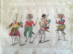 """Costumes pour la quatrième partie du ballet """"Les Fées des forêts de Saint-Germain"""", intitulée """"Ballet de la Guerre : Entrée Des Vaillans combattants, Atelier de Daniel Rabel, 1625, plume, gouache et aquarelle ; 25,9 x 41,3 cm"""