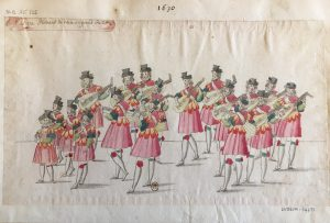 """Costumes pour la deuxième partie du """"Ballet Du chasteau de Bicestre"""", intitulée """"La Nuit"""" : Musique Servant de recit au grand ballet, Atelier de Daniel Rabel, 1632, plume, gouache et aquarelle ; 23,7 x 40,5 cm"""