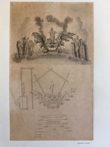 Projet pour la réalisation d'une machine de fête (pour l'Opéra ?), Jean Berain (?), XVIIe ou XVIII, Dessin lavé à l'encre de Chine ; 45,3 x 27,4 cm (f.)