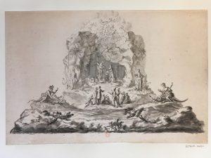 Esquisse pour un spectacle. Pour Louis XVI ? Possible thème de l'Annonciation avec Allégories des continents, 1770-1780, Dessin lavé à l'encre ; 29,2 x 44,1 cm (f.)