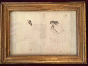 Portraits d'acteurs de la Comédie française et italienne dans leur rôle : Esquisse de têtes de profil : Molé ? et Levain, Jean-Louis Fesch et Whirsker, 1770, Dessin sur vélin : gouache et encre ; 8,5 x 5,2 cm