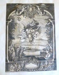 Frontispice de livret : Le trébouchement de Phaëton, d'après Jacques Lepautre ou Jean Berain, 1683, Dessin à la plume et lavis à l'encre de Chine ; 64,3 x 46,5 cm (f.)