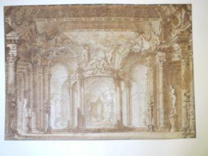 """Charles de Wailly et Louis Félix de La Rue, Décoration du Palais d'Armide à l'acte V d' """"Armide"""" par Lully et Quinault, 1760, Dessin à la plume et à l'encre de Chine et lavis bistre ; 53,7 x 67,5 cm (f.)"""