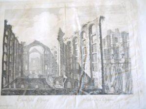 """Jacques-Philippe Le Bas, """"Casa da opera"""" / """"Sale de l'Opera"""" : Avec Privilege du Roy / Jac. Ph. Le Bas sculpt. 1757, Vue de la Casa da opéra après le tremblement de terre de Lisbonne de 1755, 1758, Gravure à l'eau-forte (?) ; 32,8 x 40,2 cm (f.)"""