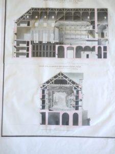 PROJET DE SALLE DE SPECTACLE POUR FONTAINEBLEAU : COUPE SUR LA LONGUEUR DE LA SALLE ET DU THEÂTRE : A Fontainebleau, ce 16 mars 1778 / M. Potain, 1778, Dessin à la plume et à l'encre de Chine et à l'aquarelle ; 38,4 x 59,4 cm (f.) et COUPE SUR LA LARGEUR DE L'AVANT-SCENE : A Fontainebleau, ce 16 mars 1778 / M. Potain, 1778, Dessin à la plume et à l'encre de Chine et à l'aquarelle ; 36,3 x 58,9 cm (f.)